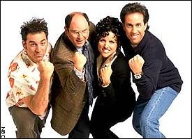 Seinfeld aired on NBC from July 5, 1989, to May 14, 1998, lasting nine seasons, and is now in syndication.  Set predominantly in an apartment block on Manhattan's Upper West Side (but shot in Los Angeles), the show features a host of Jerry's friends and acquaintances, in particular best friend George Costanza, former girlfriend Elaine Benes, and neighbor across the hall, Cosmo Kramer.