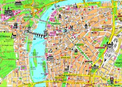 Tourist map of Prague city center.