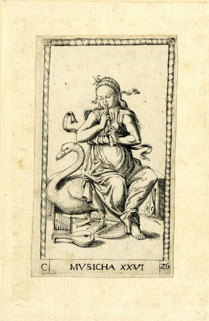 WL female figure, seated, her head turned slightly to l, playing a flute; musical instruments on the ground, a swan on l; after the so-called Tarocchi Cards of Mantegna.  Engraving