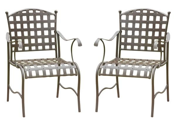 Santa Fe Iron Patio Chairs With Arms   Set Of