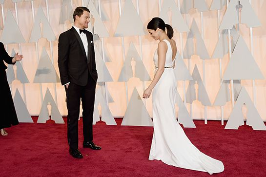 The Cutest Couples Walking The Oscars Red Carpet #refinery29  http://www.refinery29.com/cutest-celebrity-couples-oscars-2015#slide-9  The way Channing Tatum looks at Jenna will melt the coldest heart.