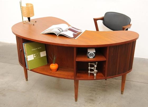 1950s danish modern tibergaard nielsen teak desk mid century eames era - Teak office desk ...