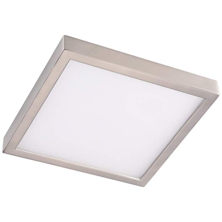 """Disk 11"""" Wide Nickel Square LED Indoor-Outdoor Ceiling Light - #17X45 
