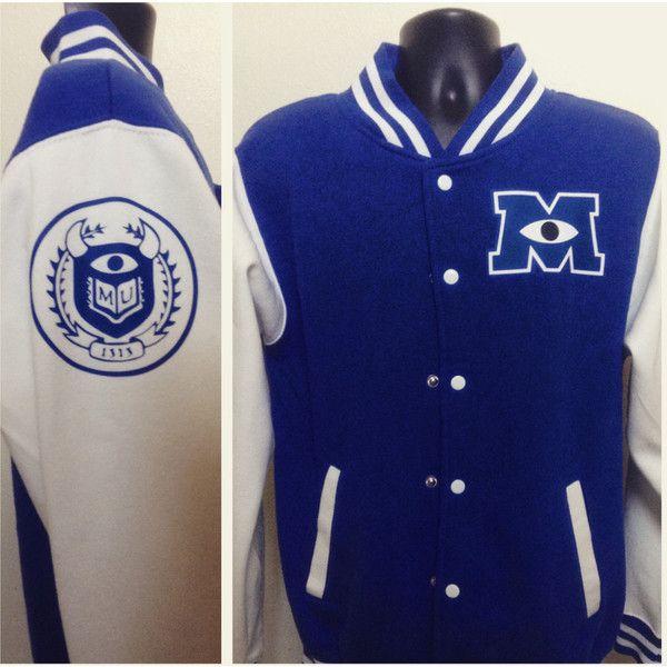 Monster's University Varsity Jacket ($45) ❤ liked on Polyvore featuring outerwear, jackets, varsity bomber jacket, college jacket, letterman jackets, blue letterman jacket and snap front jacket