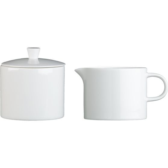Maison Creamer and Sugar Bowl in Coffee, Tea Accessories | Crate and Barrel, $14.95 each