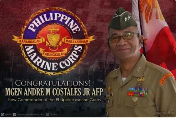 A veteran of the 2000 all-out war in Mindanao, declared by former President Estrada against the Moro Islamic Liberation Front (MILF), was named as new commandant of the Philippine Marine Corps (PMC).  Maj. Gen. Andre Costales will be installed as PMC commandant today during change of command ceremony to be presided over by Armed Forces of the Philippines (AFP) chief of staff Gen. Ricardo Visaya at the Marine headquarters in Fort Bonifacio.