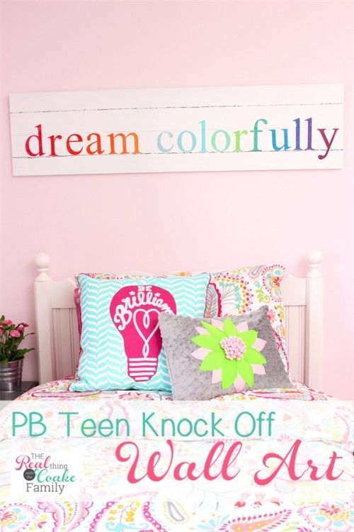 DIY: How to Make this PB Teen Knock Off Wall Art - using a piece of MDF, paint and stencils, this blogger was able to make this sign for her daughter's room for only $4 - via Real Coake