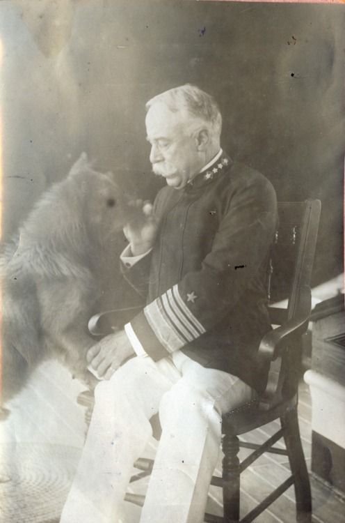 Rear Admiral George Dewey and his dog, Bob, aboard the cruiser Olympia, circa 1898. Photograph from the Littlejohn collection at J. Welles Henderson Archives & Library, Independence Seaport Museum. http://www.phillyseaport.org/Museum_Library.shtml