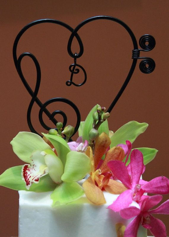Music Note  Heart Cake topper with initial  Wedding by AllegroArt, $32.00