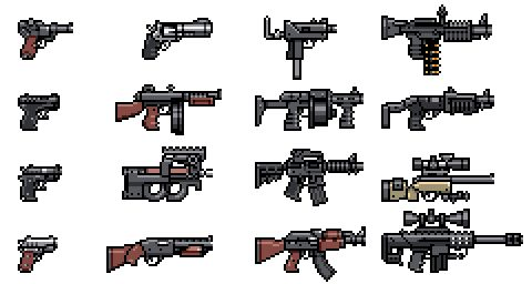 """tributegames:  pixeltao:  Here's a few """"classic"""" guns I drew for Mercenary Kings. Besides these ones, pretty much all other gun sprites of t..."""