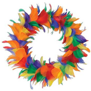 Rainbow Feather Wreath - 30.5cm. Ideas for Brazilian Rio 2016 party to celebrate the Summer Olympic games in Rio 2016, Brazil. With Brazilian Rio themed party food, Olympic party decorations, Rio carnival style fancy dress and other Rio themed Olympic games inspiration.