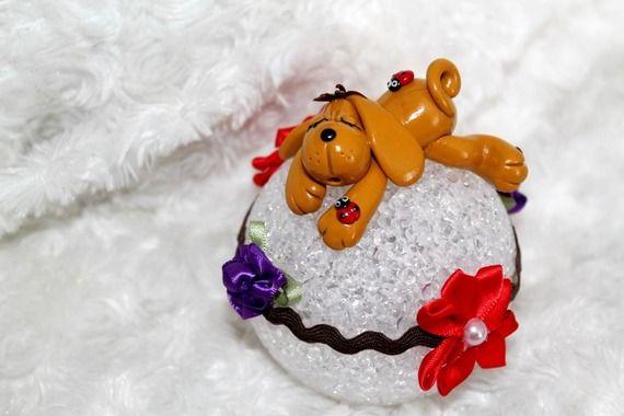 Veilleuse LED globe motif chien créer en pâte polymère fimo