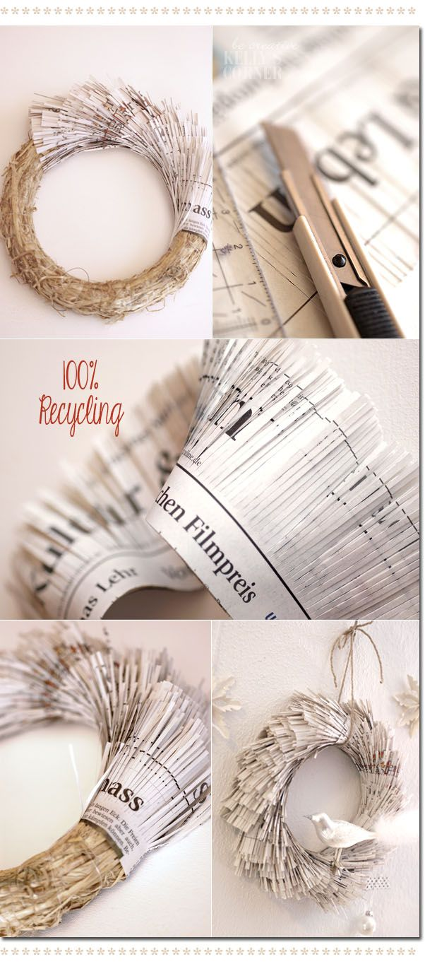 Newspaper recycle garland