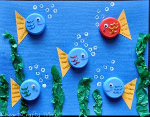 Bottle Cap Fishies- If you don't know what to do with bottle caps, don't throw them out! Make this adorable kids' craft!
