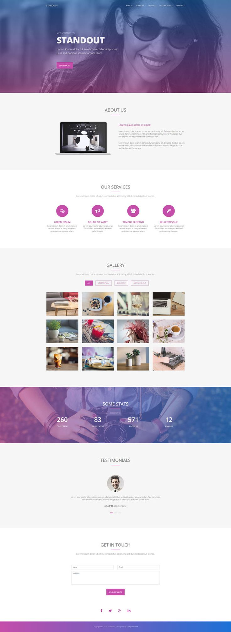 Free Multipurpose One Page Template - Standout