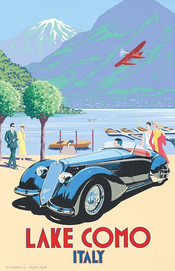 'Alfa Romeo 8C-2900 – Lake Como' by Charles Avalon - Vintage car posters - Art Deco - Pullman Editions - Italy / Ancienne affiche publicitaire, vieille publicité voiture : Lac Côme, Italie