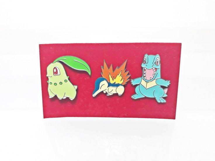 "#pokemon Set (3) Chikorita Cyndaquil Totodile Pokemon Official 1"" Metal Pin Figure Japan please retweet"