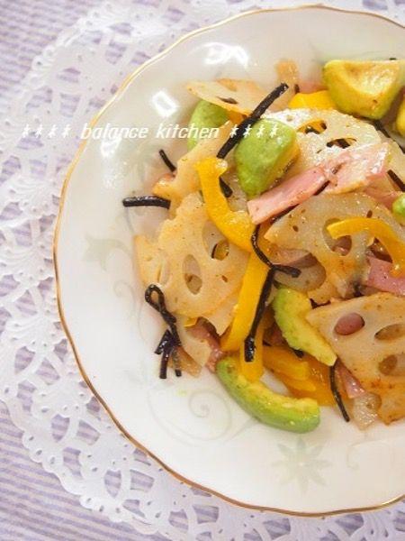 和えるだけ♫ 蓮根とアボカドの塩昆布サラダ