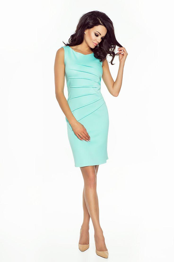 Miętowa elegancka sukienka do pracy