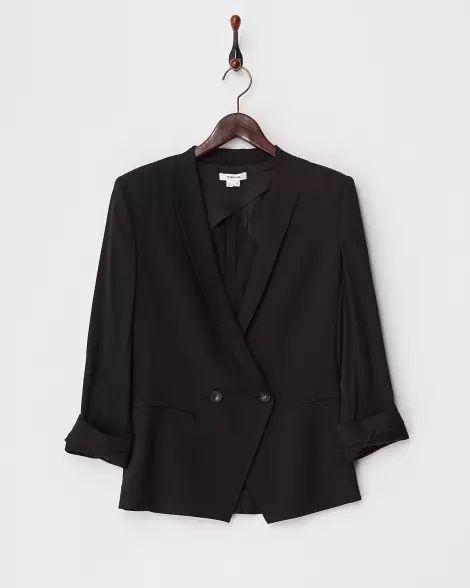 black SILICA CREPE 袖ロールアップ ブレザー - ヘルムート ラング|[GLADD(グラッド)] - ブランド通販/セール 2017/6/1まで - 25949