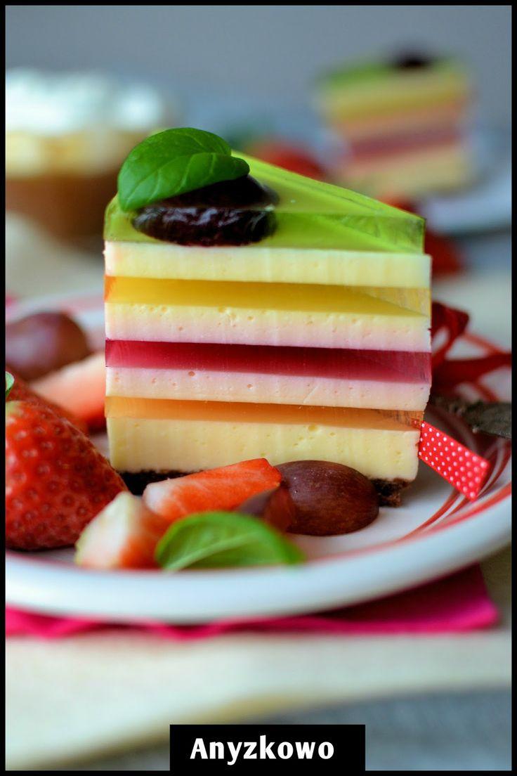 Ciasto w kolorach tęczy