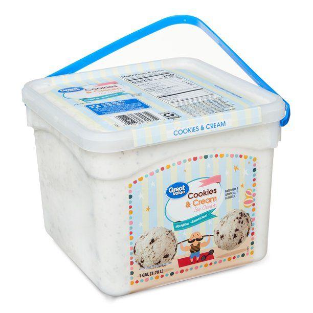 Great Value Cookies Cream Ice Cream 1 Gallon Pail Walmart Com In 2020 Cookies And Cream Ice Cream Homemade Milkshake