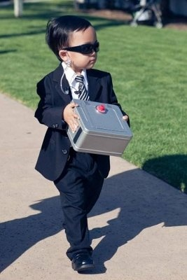 "This is a hilarious ring bearer idea, but oh so cute, ""Ring"