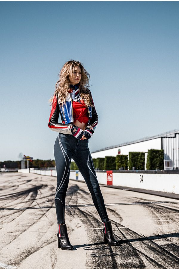 08e3c3679df Tommy's love of motorsports meets Gigi's modern style: Think moto jackets, racing  stripes, athleisure and more #TommyXGigi