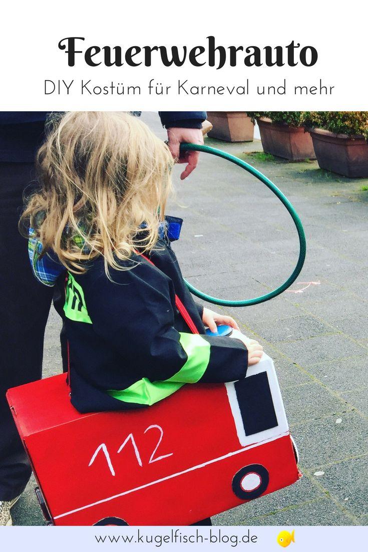 DIY Kostüm zu Karneval, Halloween oder für die nächste Motto-Party! Ein Feuerwehrauto kann man ganz leicht selber basteln. Dazu ein fertiges Feuerwehrmann-Kostüm und los geht's zum Löscheinsatz! #kostüm #karneval #feuerwehr
