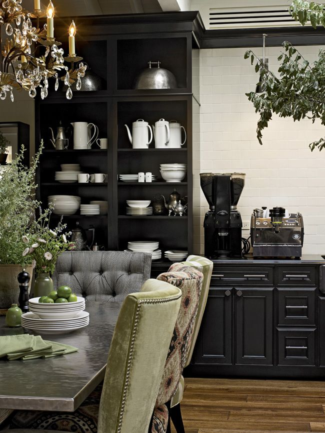 Cabinetry In Onyx Forms A Dramatic Butler S Pantry For Displaying White Earthenware In One Corner Of The House Beautiful 2011 Kitchen Of The Year