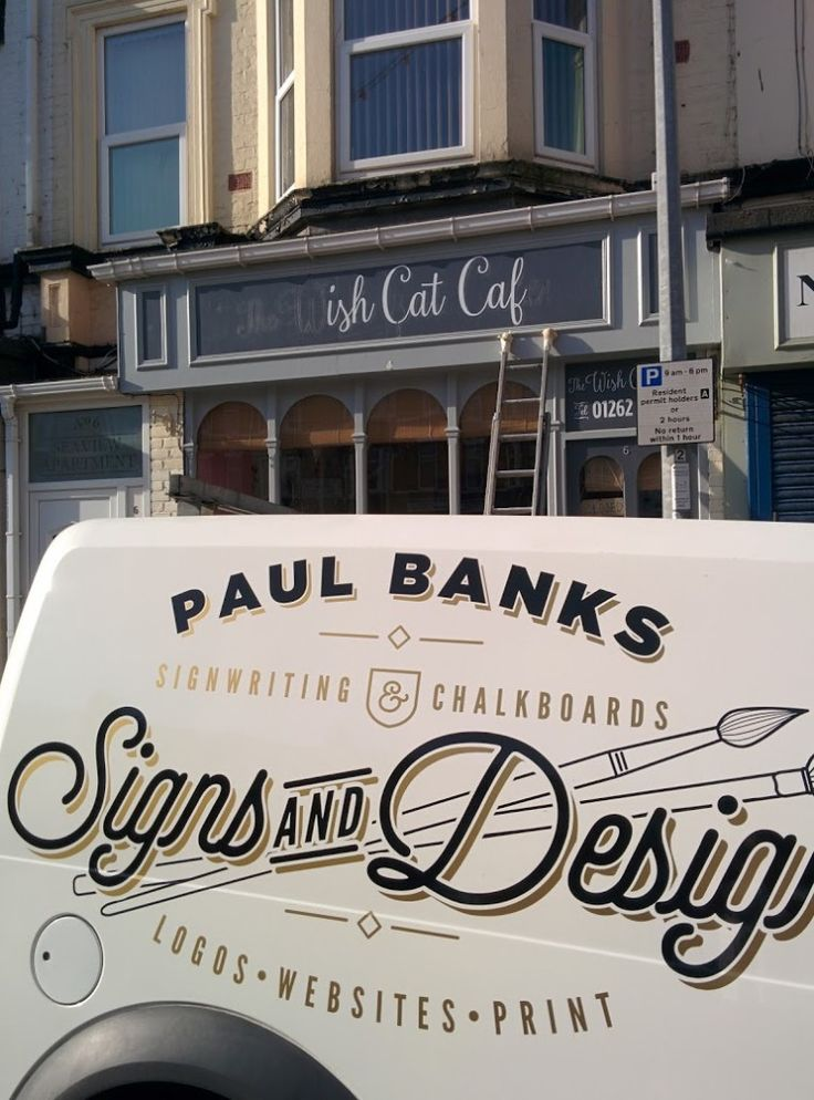#Signwriting Cafe facia in #Bridlington with my van parked up.
