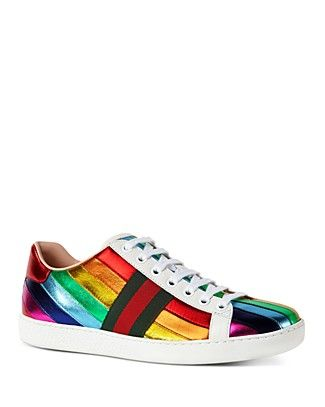 b1cd33cc670 Shop for Gucci Metallic Rainbow Stripe Lace Up Sneakers with FREE Shipping    FREE Returns. Pick Up in Store Available.