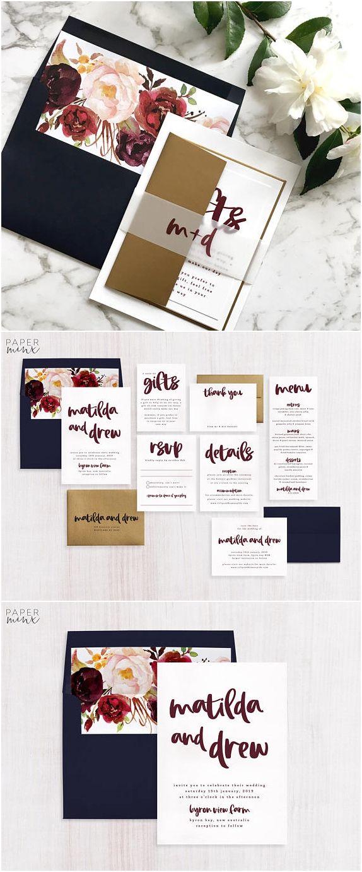 Wedding Invitation | Marsala Wedding Invitation Suite | Burgundy | Wine Color | Berry | Calligraphy Invitation | Printed Suite | Matilda