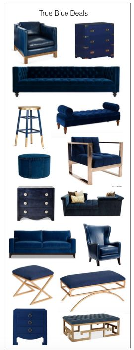 Navy and gold furniture