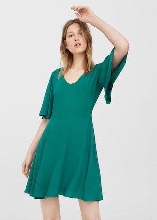 Vestido manga folho (verde): MANGO (29,99€)