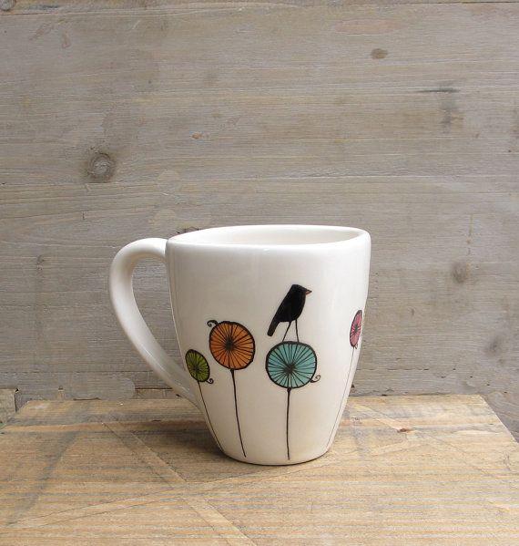 Bird ceramic coffee cup mug gift for the bird by catherinereece $22.00