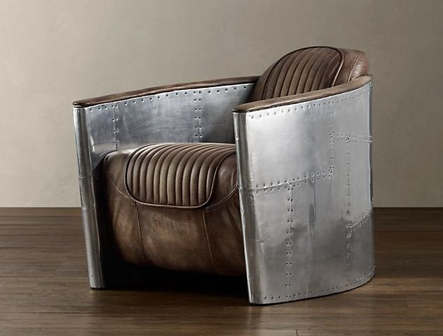 Nice Aluminum And Leather Aviation Chair From Restoration Hardware