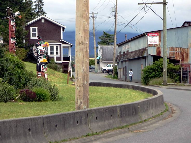 Fir Street curves around the 'Namgis Burial Grounds at Alert Bay, British Columbia, Canada.