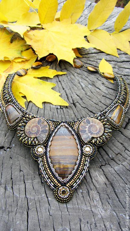 "Колье""Тигровая осень"". Handmade."