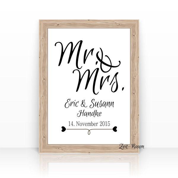 Gastgeschenke - ''Mr. & Mrs.'' Kunstdruck Hochzeitsgeschenk... - ein Designerstück von ZEIT-RAUM bei DaWanda
