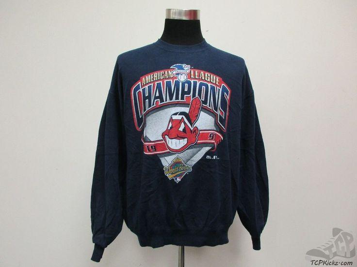 Vtg 90s Jerzees Cleveland Indians Crewneck Sweatshirt sz XL 1997 World Series #Jerzees #ClevelandIndians