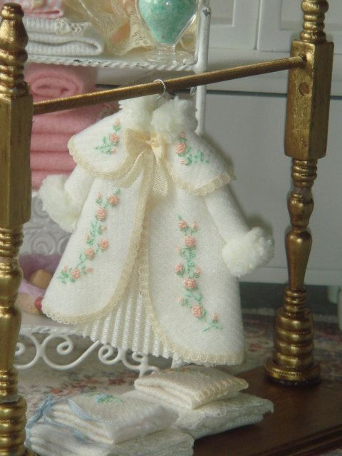Girls dollhouse hand embroidered coat on hang. 1:12 scale dollhouse children clothing.