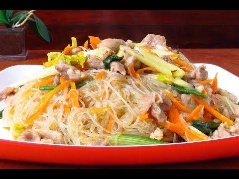 Fideos de arroz con pollo y verduras - YouTube