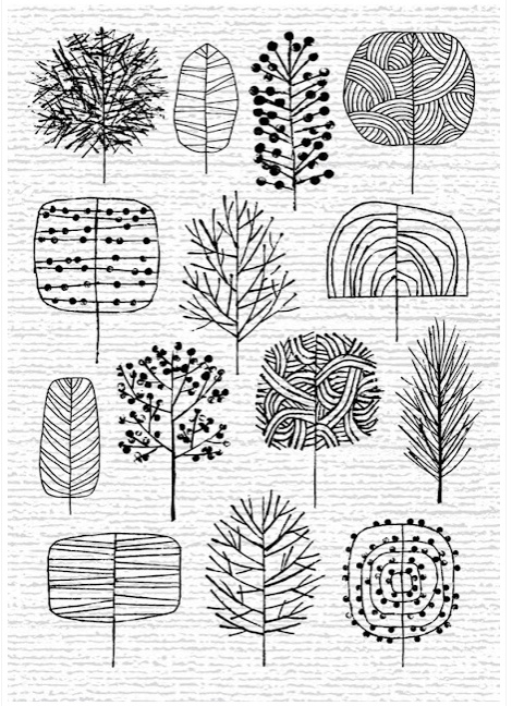"""fun ways to draw trees""  I can't even draw recognizable stick figures, so why am I pinning ths?  Because they're so cool!"