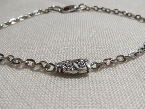 Tiny Owl Charm Bracelet  Silver Tone Chain  So Cute and by Thielen, $9.95
