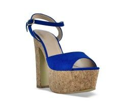 28€ Chunky hell sandal, blue and suede pattern. Visit our website now!