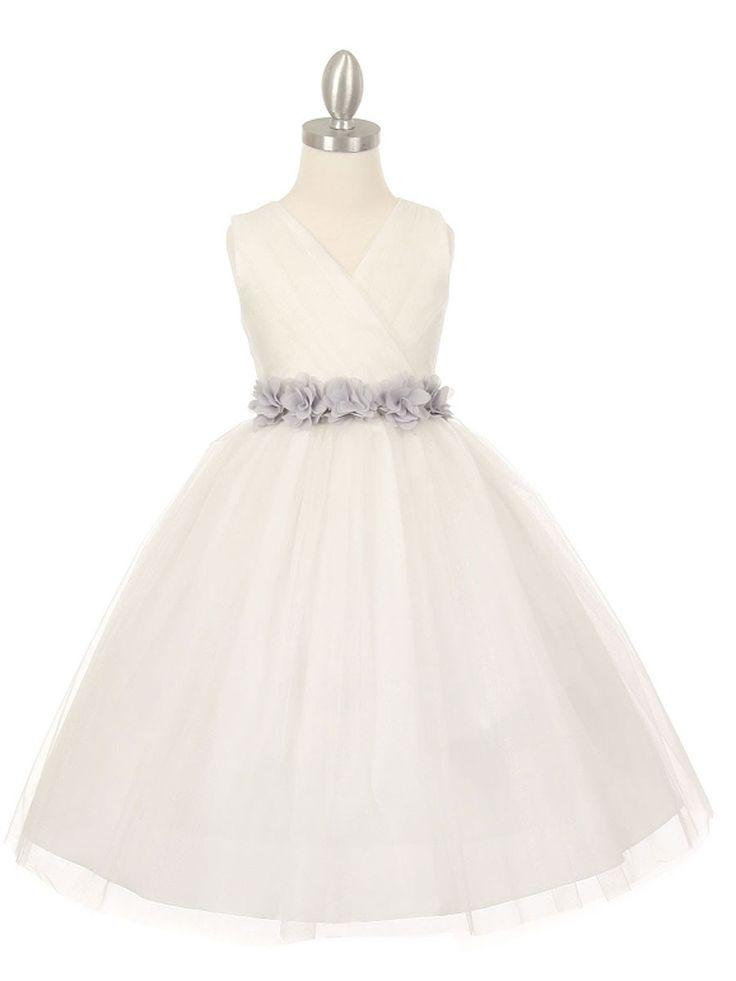 Versatile Ivory Tulle V Neck Pleated Flower Girl Dress