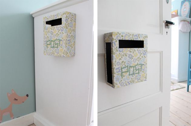 letter box for kids bedroom fun idea to write sweet notes or reminders to your young ones.  *this link is in Swedish or something*