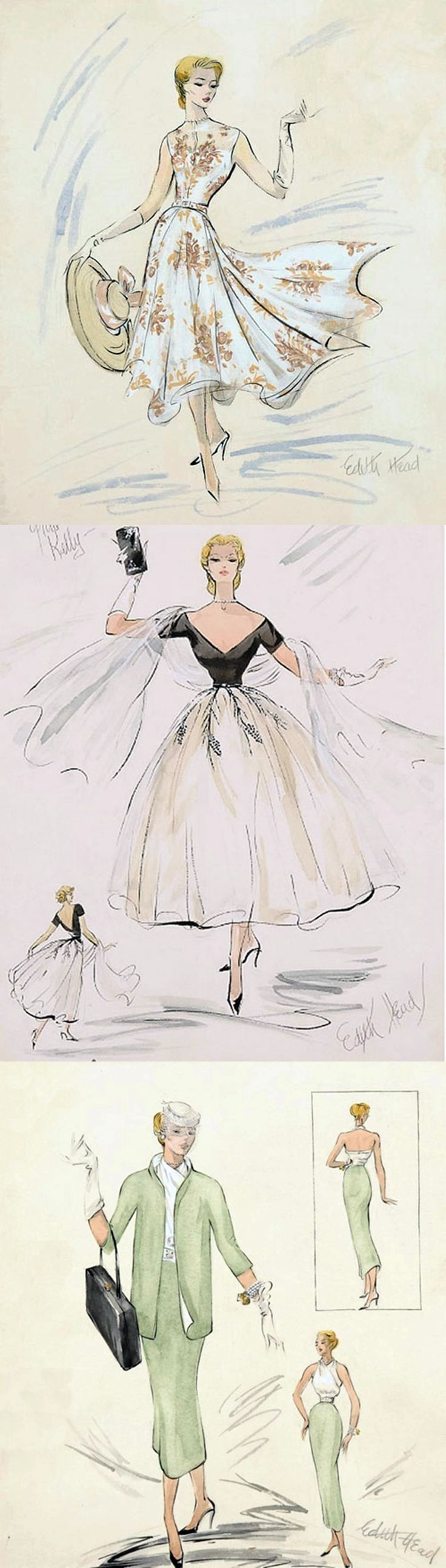 Edith Head's costume design sketches for Grace Kelly in Rear Window