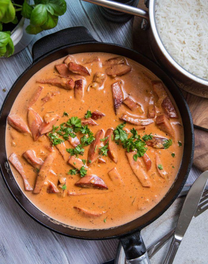korv stroganoff creme fraiche tomat basilika